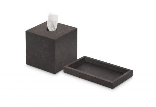 Conjunto caja porta pañuelos y bandeja de madera