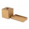 Conjunto caja porta pañuelos y bandeja Valeria en piel dorada