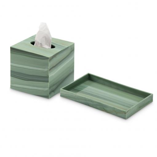 Conjunto caja porta pañuelos y bandeja en metacrilato verde