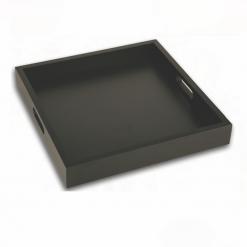 Bandeja de madera esmaltada cuadrada negra